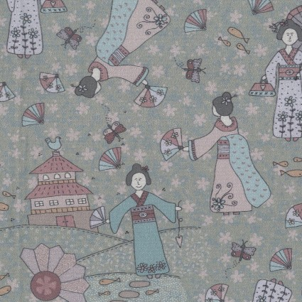 Dancing in the Blossom kimono lady on sage