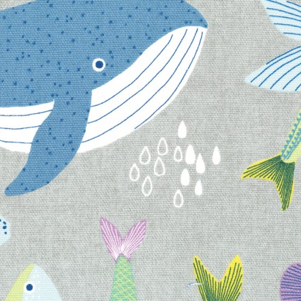 Lecien Etoffe Imprevue '19 Fish n Whales on Gray by Yoko Saito & Lecien LEC801901-90