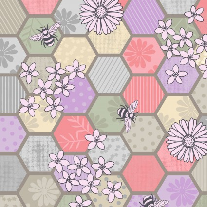 Bee Kind - Hexagons Natural