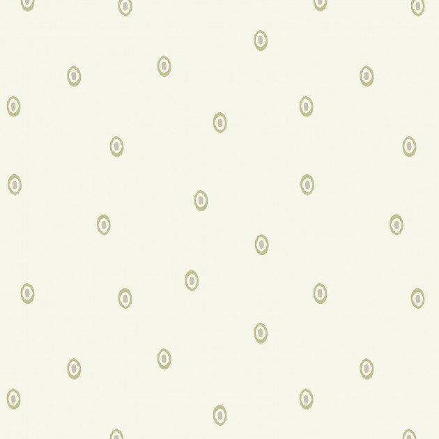 Winter Garden by Lewis and Irene - Ivory with Green Dot