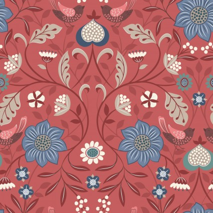 Michaelmas by Lewis and Irene -  Metallic Rust Floral