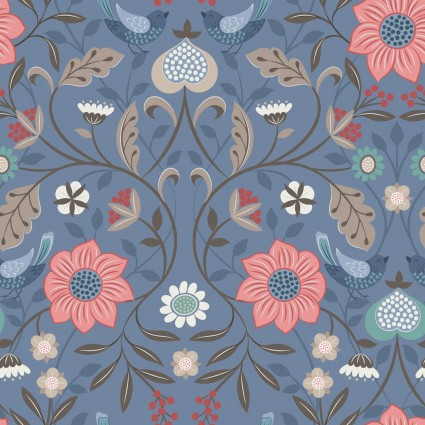 Michaelmas by Lewis and Irene -  Metallic Blue Floral