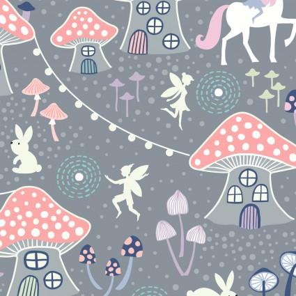 Fairy Nights Glow in the Dark Fabric - Mushroom Village on Dusky Gray - by Lewis & Irene