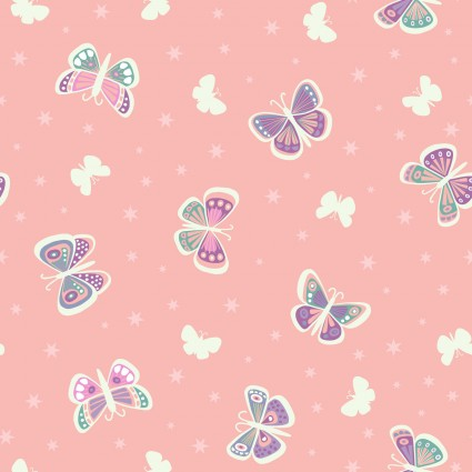 Fairy Nights Glow in the Dark Fabric - Butterfly Glow on Pretty Pink - by Lewis & Irene