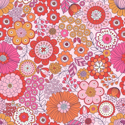 Flower Child Far Out Florals Pink