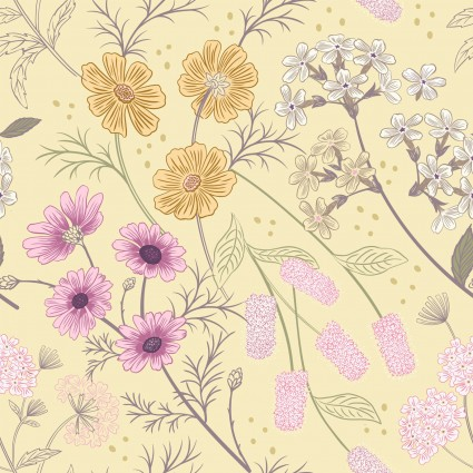 garden floral pale yellow
