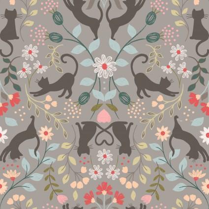Lewis & Irene Purrfect Petals - Love Cats in Grey