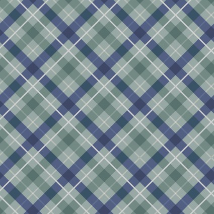 Iona - Diagonal Plaid - Blue Iona with Silver Metallic