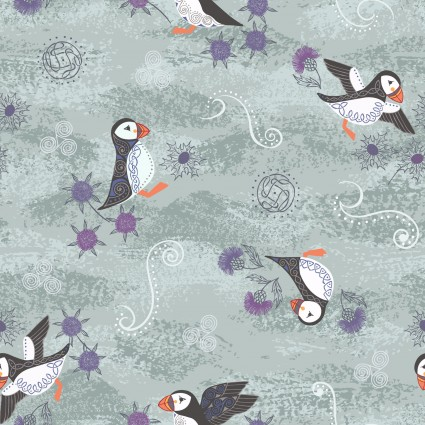 Iona - Puffins - Blue Grey with Silver Metallic