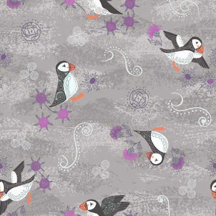 Iona - Puffins - Warm Grey with Silver Metallic