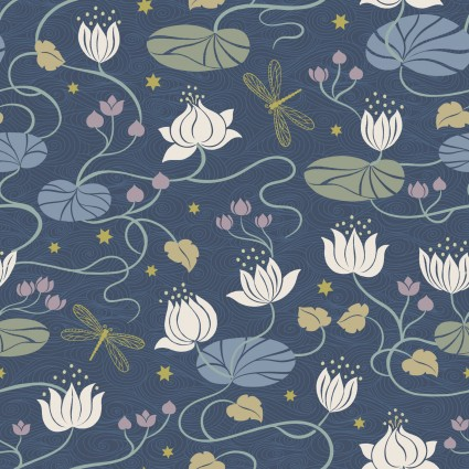 Lewis & Irene Jardin de Lis - Lillies in Dark Blue with Gold Metallic