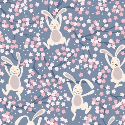 A526.3 Bunny Hop Swinging Bunnies on Denim Blue