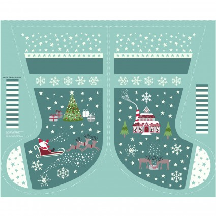 Christmas Glow- Large Teal Stocking