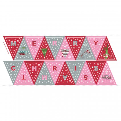 Christmas Glow Banner / Bunting, Pink and Red - By Lewis and Irene - Sold by the Panel