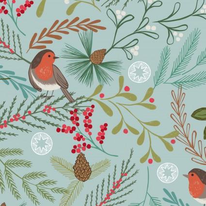 Christmas Trees Blue Robin C58-2