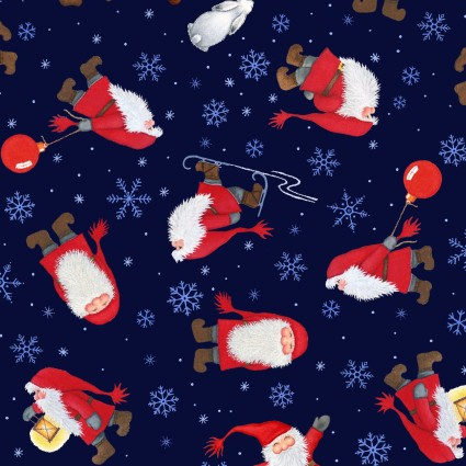 Tomten's Christmas Tossed Santas On Dark Blue