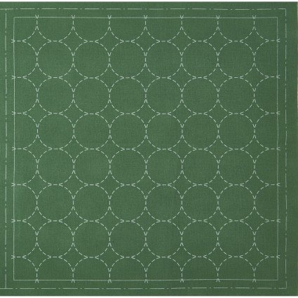 Hidamari Sashiko Pre-Printed Emerald Green Fabric Circles from Cosmo