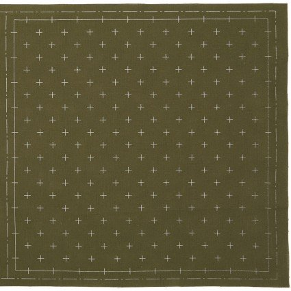 Hidamari Sashiko Pre-Printed Moss Green Crosses from Cosmo