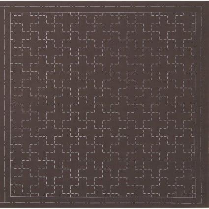 Hidamari Sashiko Pre-Printed Brown Fabric Linked Crosses from Cosmo