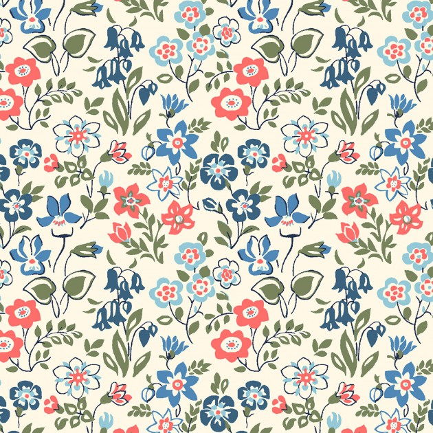 Liberty of London Cottage Garden Red/Blue Floral