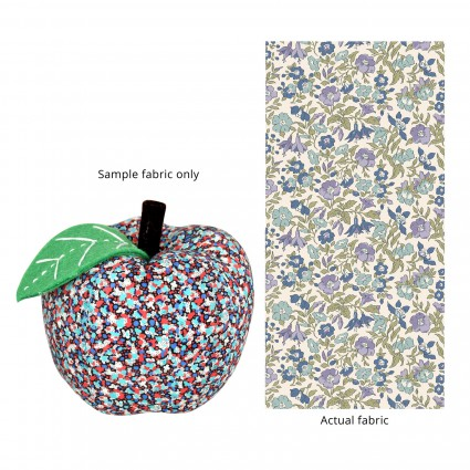 Apple Pincushion Blue & Purple Floral