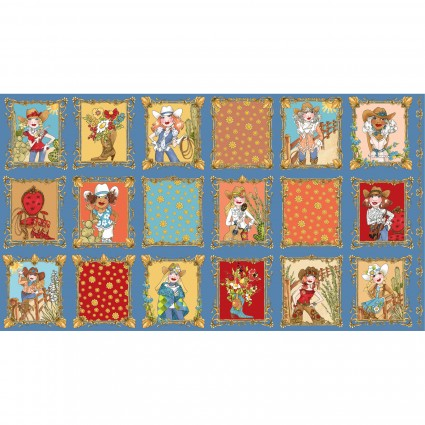 Loralie Designs Whoa Girl! Panel Blue