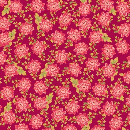 Sweet Beginnings Allover Floral Deep Red