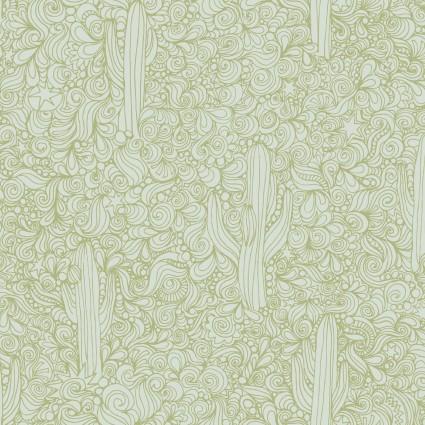 Saguaro Cactus lines Green/off white