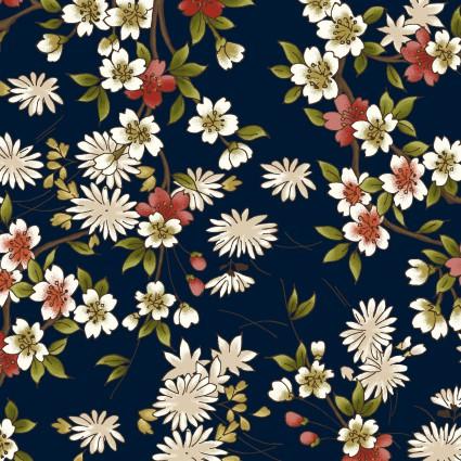 Japanese Garden Navy w/Blossoms