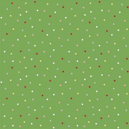 Kimberbell We Whisk You a Merry Christmas! Multi Dot on Green Fabric