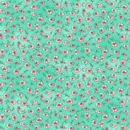 Roam Sweet Home Mint Green with Pink Flowers