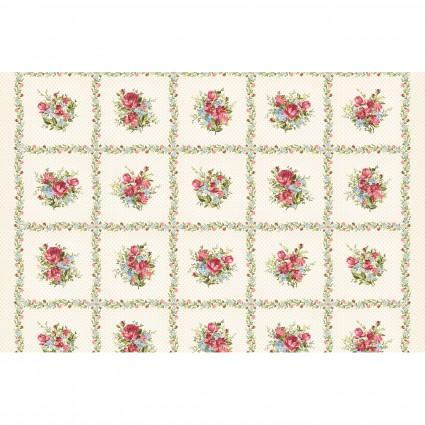 Maywood Roses on the Vine -Rose Squares MAS8430-E
