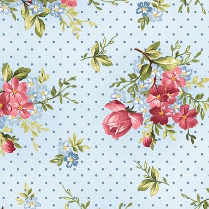 Maywood Roses on the Vine -Pink Roses Blue Background MAS8433-b