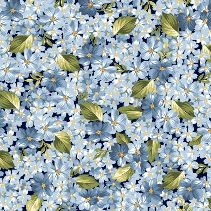 Maywood Roses on the Vine -Tiny Blue Flowers MAS8434-B