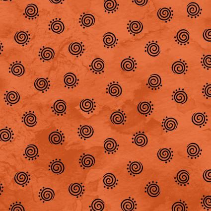 Halloweenie Black Geometric Swirls on Orange