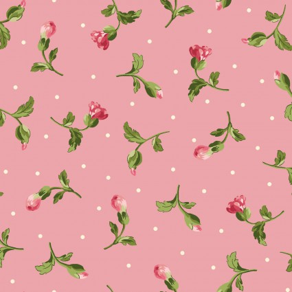 Maywood Poppies Small Pink Roses Pink Background MAS8786-P
