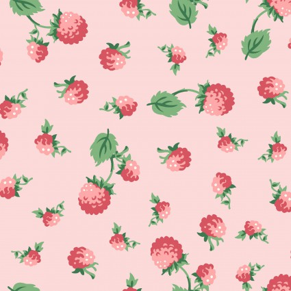 Berries & Blossoms Pink Raspberries - 1 yard cut