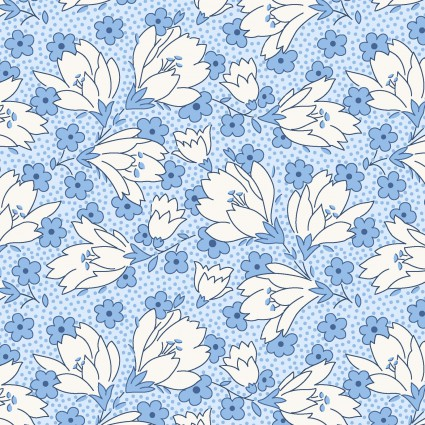 Berries & Blossoms  Blue - 1 yard cut