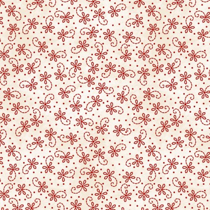 Sheltering Tree - Red Lazy Daisy Twirl on Cream by Robin Kingsley