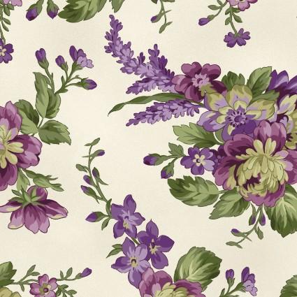 Maywood Studio Aubergine Floral Bouquets Ecru