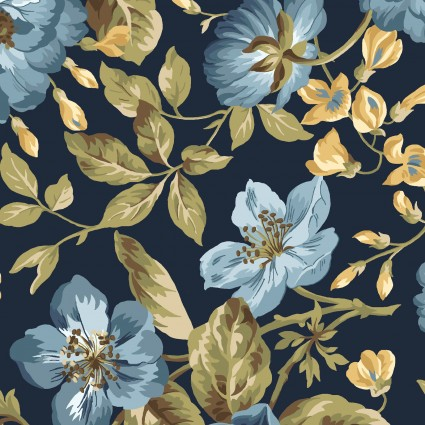 English Countryside - Navy Focal Floral