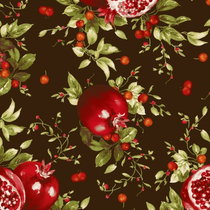 Fabric May Bountiful Deep Brown Pomgranite