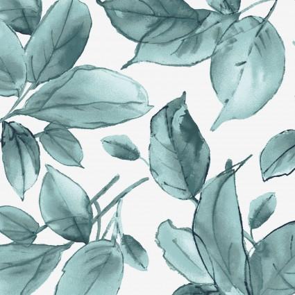Watercolor Hydrangeas Blue Leaves