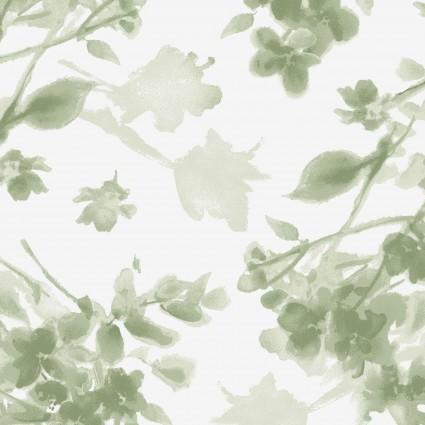 Watercolor Hydrangeas Green Tonal Floral