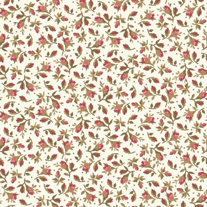 Burgundy & Blush Ecru Vintage Calico by Maywood Studio