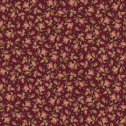 Burgundy & Blush Burgundy Vintage Calico by Maywood Studio