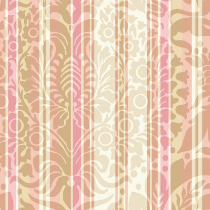 Burgundy & Blush Pink Damask Floral Stripe by Maywood Studio