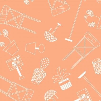 Q - Make Yourself at Home - Orange Furniture Silhouettes