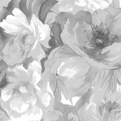 Nocturne- Black/gray large roses