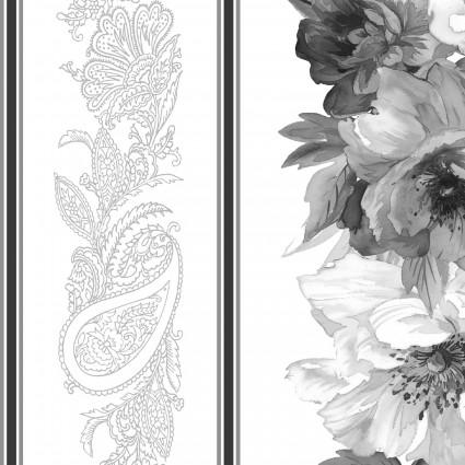 Nocturne - border print - gray/white/black